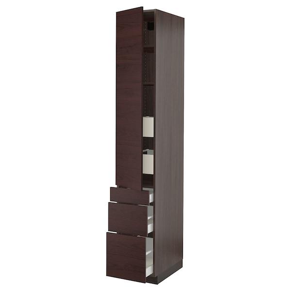 """SEKTION / MAXIMERA High cabinet w/door & 5 drawers, brown Askersund/dark brown ash effect, 15x24x90 """""""