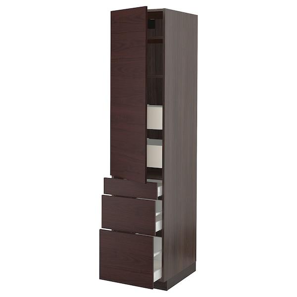 """SEKTION / MAXIMERA High cabinet w/door & 5 drawers, brown Askersund/dark brown ash effect, 18x24x80 """""""