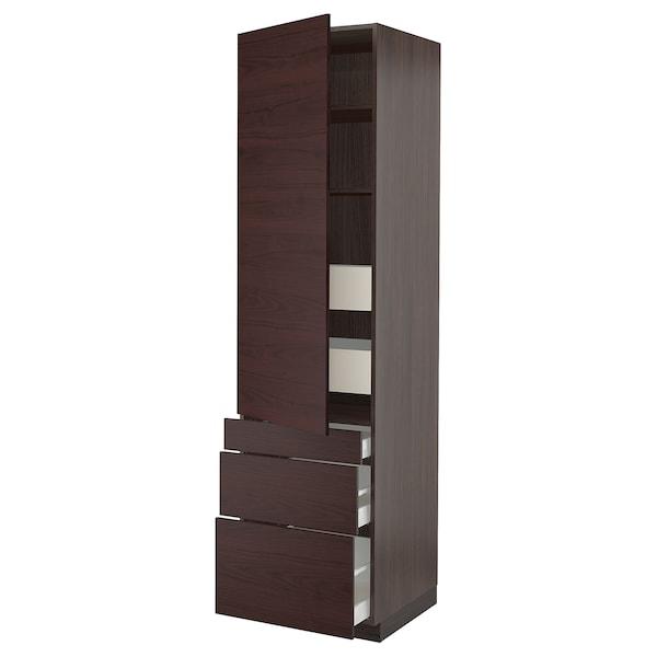 """SEKTION / MAXIMERA High cabinet w/door & 5 drawers, brown Askersund/dark brown ash effect, 24x24x90 """""""