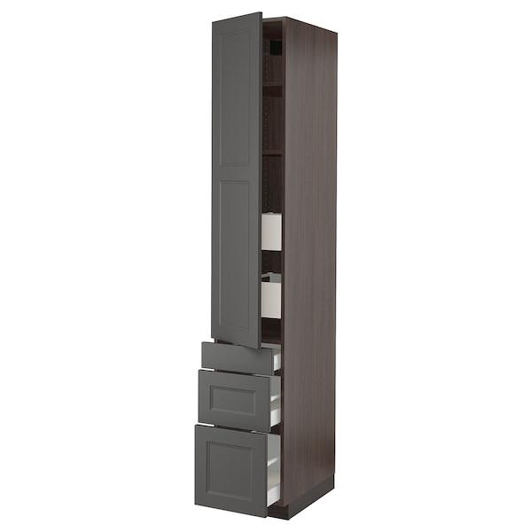 "SEKTION / MAXIMERA High cabinet w/door & 5 drawers, brown/Axstad dark gray, 15x24x90 """
