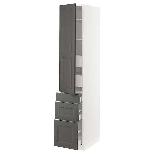"SEKTION / MAXIMERA High cabinet w/door & 5 drawers, white/Axstad dark gray, 15x24x80 """