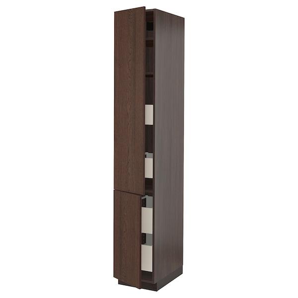 "SEKTION / MAXIMERA High cb w 2 doors/shelves/4 drawers, brown/Sinarp brown, 15x24x90 """