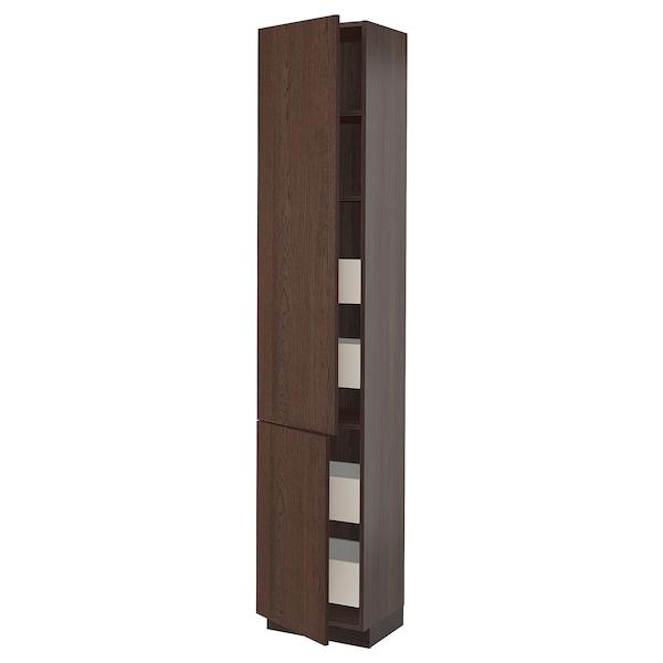 "SEKTION / MAXIMERA High cb w 2 doors/shelves/4 drawers, brown/Sinarp brown, 18x15x90 """