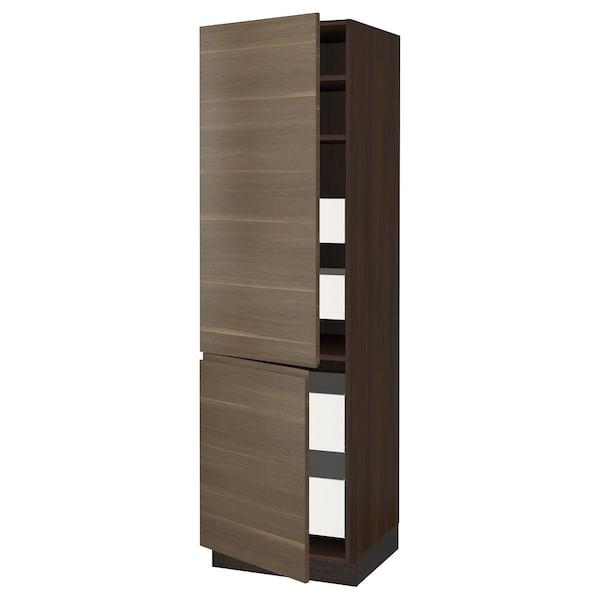 "SEKTION / MAXIMERA High cb w 2 doors/shelves/4 drawers, brown/Voxtorp walnut effect, 24x24x80 """