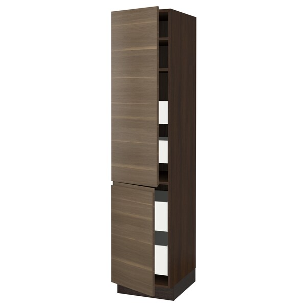 "SEKTION / MAXIMERA High cb w 2 doors/shelves/4 drawers, brown/Voxtorp walnut effect, 18x24x80 """