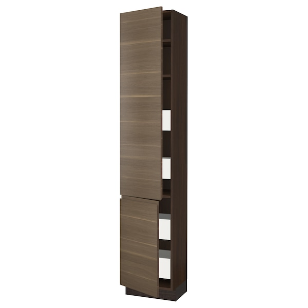 SEKTION / MAXIMERA High cb w 2 doors/shelves/4 drawers, brown/Voxtorp walnut effect, 18x15x90 ""