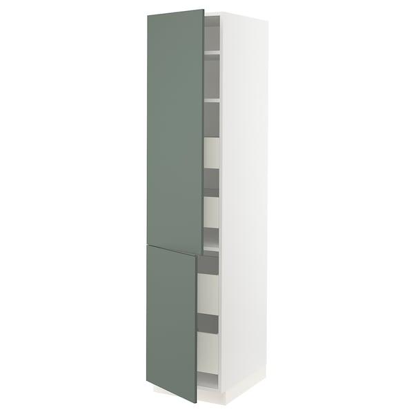 "SEKTION / MAXIMERA High cb w 2 doors/shelves/4 drawers, white/Bodarp gray-green, 18x24x80 """