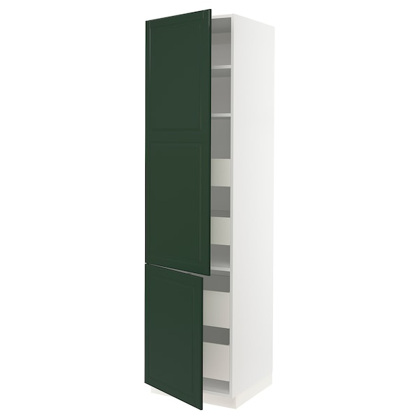 SEKTION / MAXIMERA High cb w 2 doors/shelves/4 drawers, white/Bodbyn dark green, 24x24x90 ""