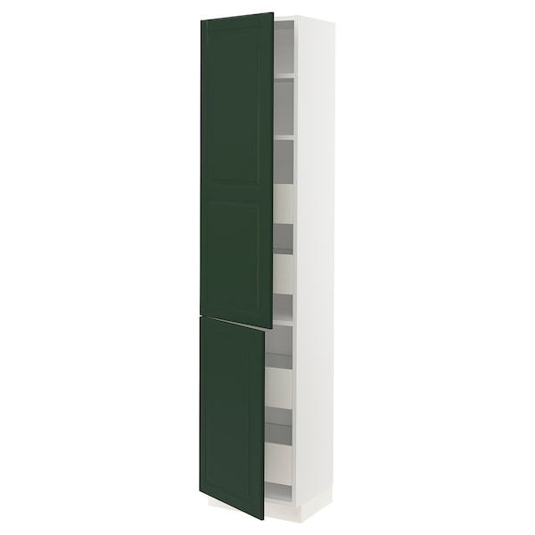 "SEKTION / MAXIMERA High cb w 2 doors/shelves/4 drawers, white/Bodbyn dark green, 18x15x80 """