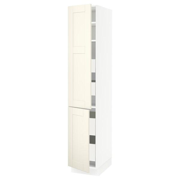 "SEKTION / MAXIMERA High cb w 2 doors/shelves/4 drawers, white/Grimslöv off-white, 15x24x80 """