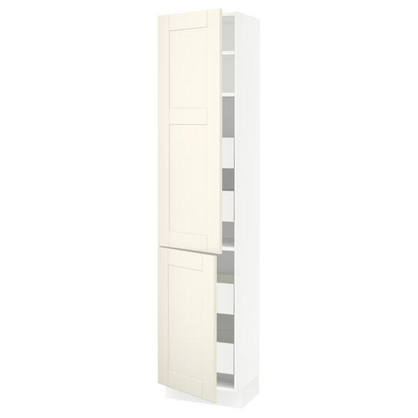 "SEKTION / MAXIMERA High cb w 2 doors/shelves/4 drawers, white/Grimslöv off-white, 18x15x80 """