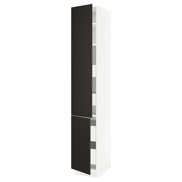 """SEKTION / MAXIMERA High cb w 2 doors/shelves/4 drawers, white/Kungsbacka anthracite, 15x24x90 """""""