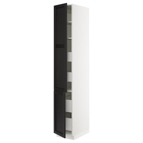 "SEKTION / MAXIMERA High cb w 2 doors/shelves/4 drawers, white/Lerhyttan black stained, 15x24x90 """