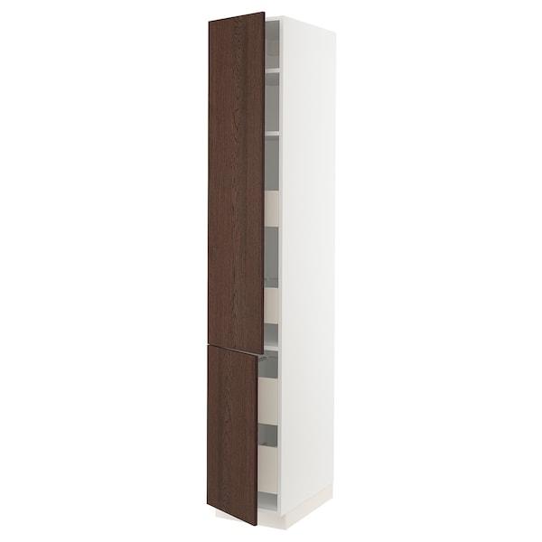 "SEKTION / MAXIMERA High cb w 2 doors/shelves/4 drawers, white/Sinarp brown, 15x24x90 """