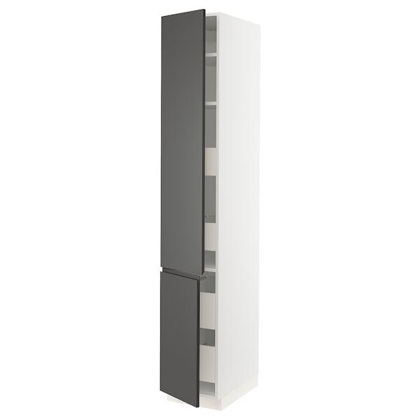 "SEKTION / MAXIMERA High cb w 2 doors/shelves/4 drawers, white/Voxtorp dark gray, 15x24x90 """