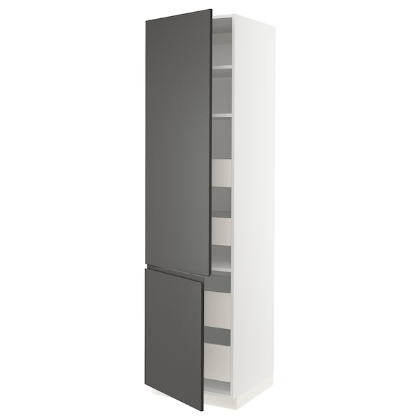 SEKTION / MAXIMERA High cb w 2 doors/shelves/4 drawers, white/Voxtorp dark gray, 24x24x90 ""