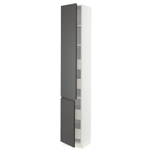 "SEKTION / MAXIMERA High cb w 2 doors/shelves/4 drawers, white/Voxtorp dark gray, 15x15x90 """
