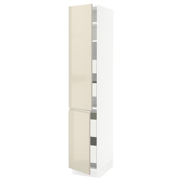 SEKTION / MAXIMERA High cb w 2 doors/shelves/4 drawers, white/Voxtorp high-gloss light beige, 15x24x80 ""
