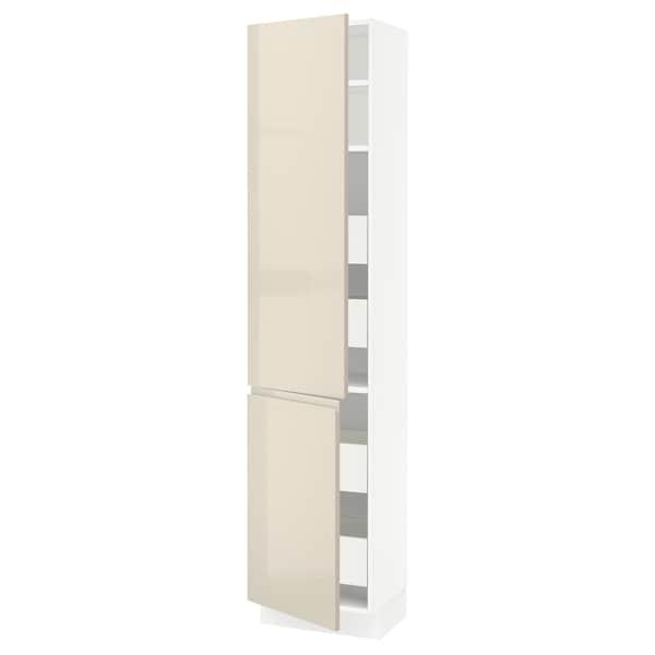 "SEKTION / MAXIMERA High cb w 2 doors/shelves/4 drawers, white/Voxtorp high-gloss light beige, 18x15x80 """