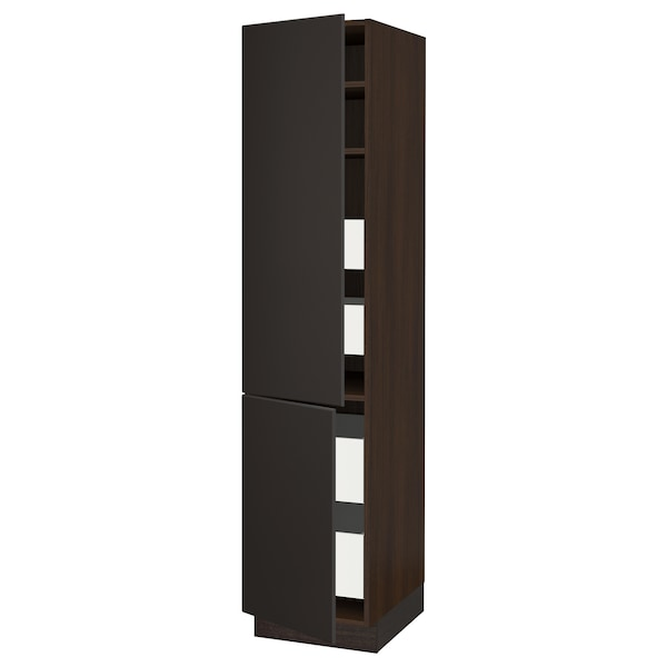 "SEKTION / MAXIMERA high cb w 2 doors/shelves/4 drawers brown/Kungsbacka anthracite 18 "" 24 "" 24 3/4 "" 80 """