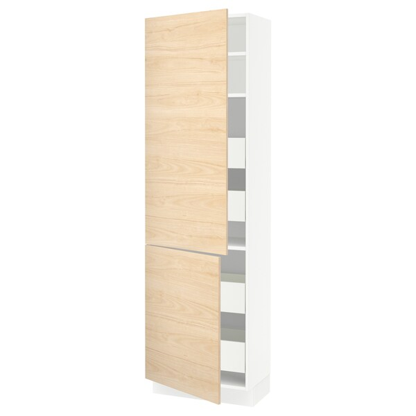 "SEKTION / MAXIMERA high cb w 2 doors/shelves/4 drawers white/Askersund light ash effect 24 "" 15 "" 15 1/2 "" 80 """