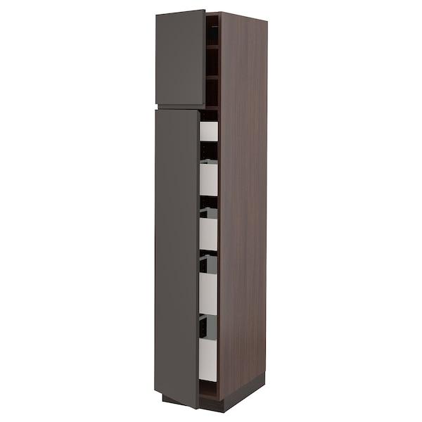 "SEKTION / MAXIMERA High cb w 2 doors/shelves/5 drawers, brown/Voxtorp dark gray, 15x24x80 """