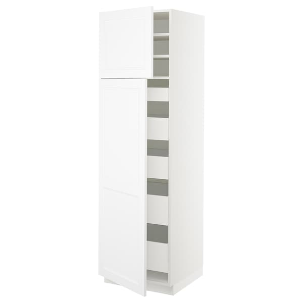 "SEKTION / MAXIMERA High cb w 2 doors/shelves/5 drawers, white/Axstad matt white, 24x24x80 """