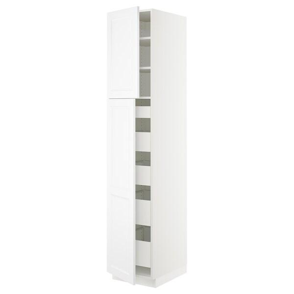 "SEKTION / MAXIMERA High cb w 2 doors/shelves/5 drawers, white/Axstad matt white, 18x24x90 """