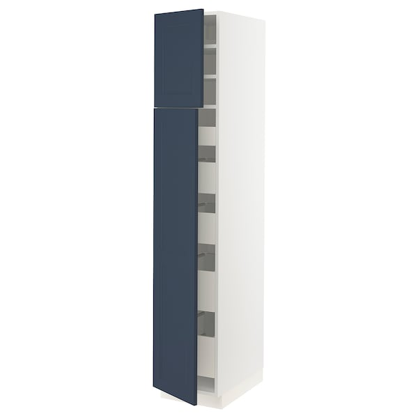 "SEKTION / MAXIMERA High cb w 2 doors/shelves/5 drawers, white Axstad/matte blue, 15x24x80 """