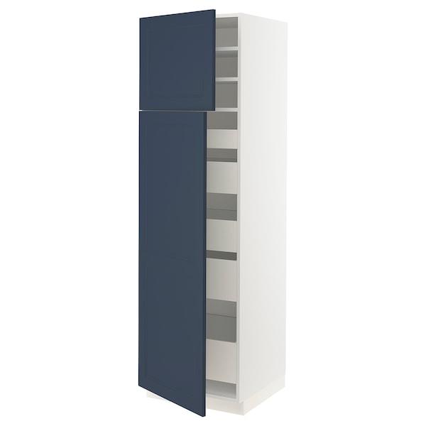 "SEKTION / MAXIMERA High cb w 2 doors/shelves/5 drawers, white Axstad/matte blue, 24x24x80 """