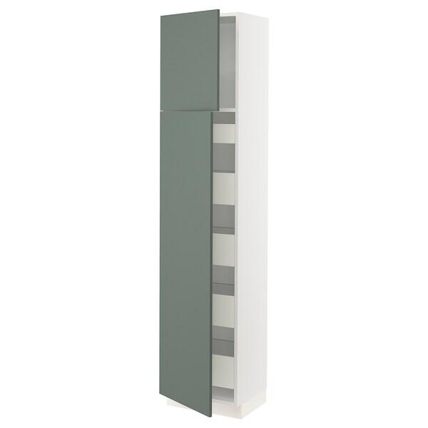 "SEKTION / MAXIMERA High cb w 2 doors/shelves/5 drawers, white/Bodarp gray-green, 18x15x80 """