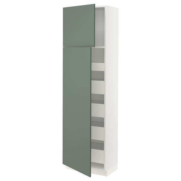 "SEKTION / MAXIMERA High cb w 2 doors/shelves/5 drawers, white/Bodarp gray-green, 24x15x80 """