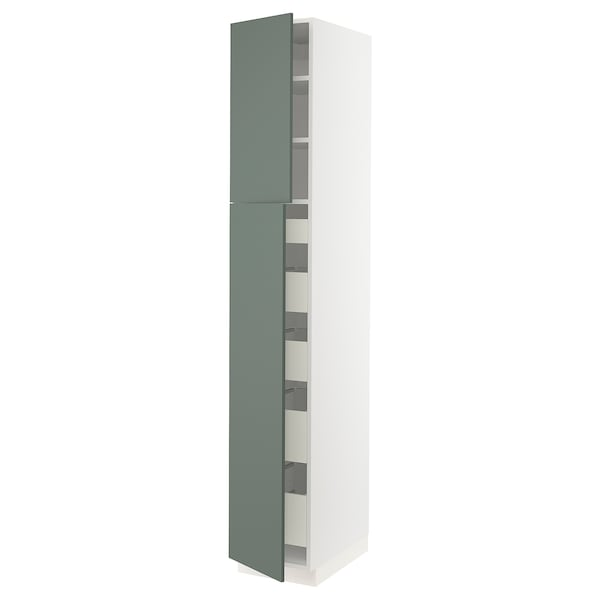 "SEKTION / MAXIMERA High cb w 2 doors/shelves/5 drawers, white/Bodarp gray-green, 15x24x90 """