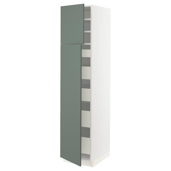 "SEKTION / MAXIMERA High cb w 2 doors/shelves/5 drawers, white/Bodarp gray-green, 18x24x80 """