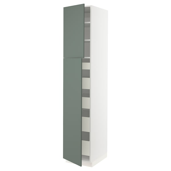 SEKTION / MAXIMERA High cb w 2 doors/shelves/5 drawers, white/Bodarp gray-green, 18x24x90 ""