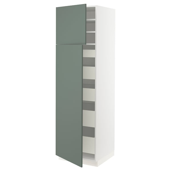 SEKTION / MAXIMERA High cb w 2 doors/shelves/5 drawers, white/Bodarp gray-green, 24x24x80 ""