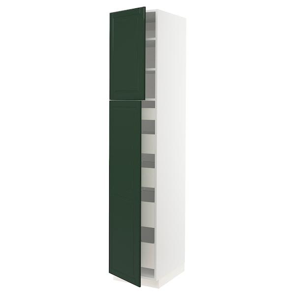 "SEKTION / MAXIMERA High cb w 2 doors/shelves/5 drawers, white/Bodbyn dark green, 18x24x90 """