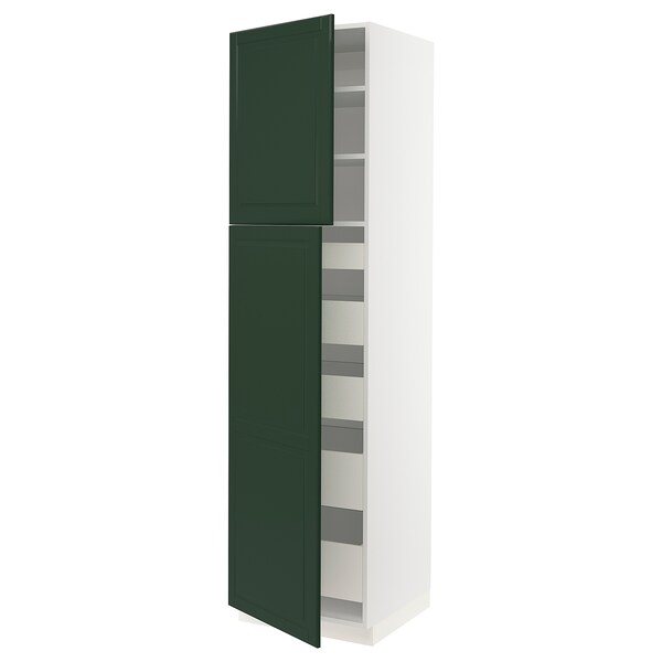 "SEKTION / MAXIMERA High cb w 2 doors/shelves/5 drawers, white/Bodbyn dark green, 24x24x90 """