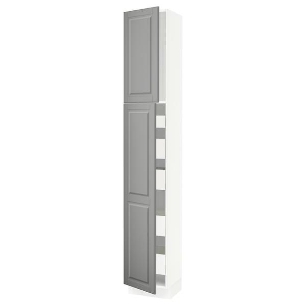 "SEKTION / MAXIMERA High cb w 2 doors/shelves/5 drawers, white/Bodbyn gray, 15x15x90 """