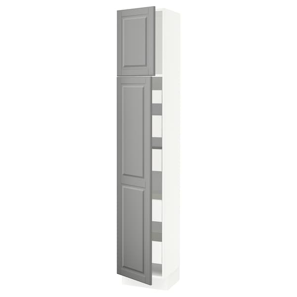 SEKTION / MAXIMERA High cb w 2 doors/shelves/5 drawers, white/Bodbyn gray, 15x15x80 ""