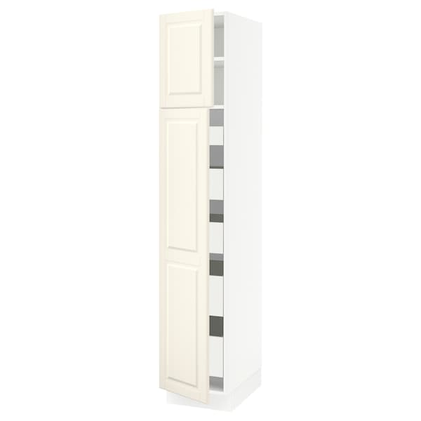 SEKTION / MAXIMERA High cb w 2 doors/shelves/5 drawers, white/Bodbyn off-white, 15x24x80 ""