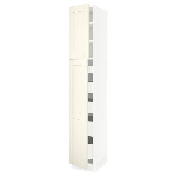 SEKTION / MAXIMERA High cb w 2 doors/shelves/5 drawers, white/Grimslöv off-white, 15x24x90 ""