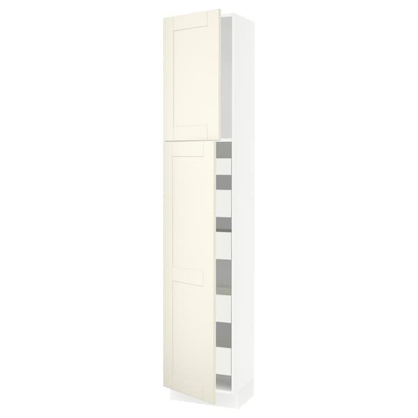 "SEKTION / MAXIMERA High cb w 2 doors/shelves/5 drawers, white/Grimslöv off-white, 18x15x90 """