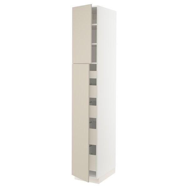 "SEKTION / MAXIMERA High cb w 2 doors/shelves/5 drawers, white/Havstorp beige, 15x24x90 """