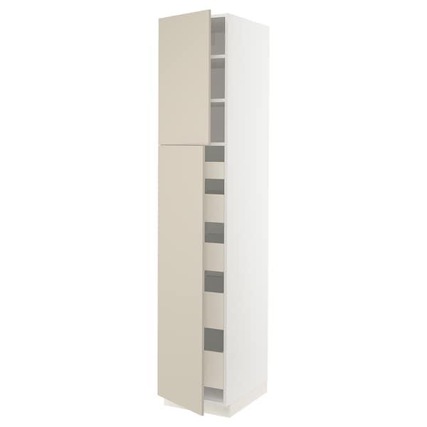 "SEKTION / MAXIMERA High cb w 2 doors/shelves/5 drawers, white/Havstorp beige, 18x24x90 """