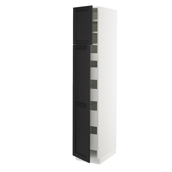 "SEKTION / MAXIMERA High cb w 2 doors/shelves/5 drawers, white/Lerhyttan black stained, 15x24x80 """