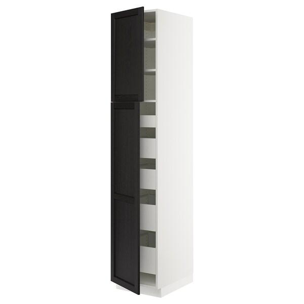 "SEKTION / MAXIMERA High cb w 2 doors/shelves/5 drawers, white/Lerhyttan black stained, 18x24x90 """