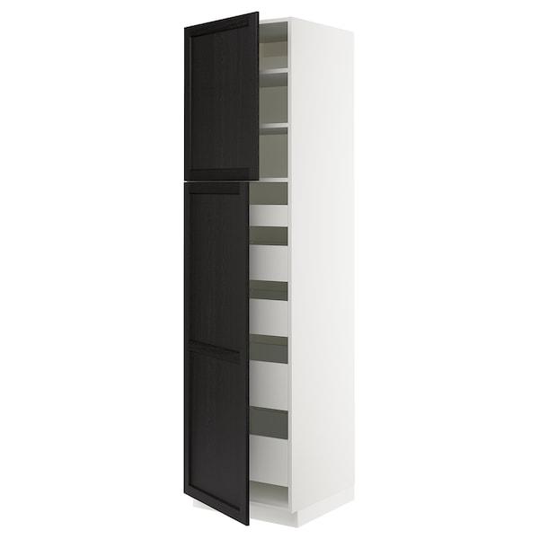 "SEKTION / MAXIMERA High cb w 2 doors/shelves/5 drawers, white/Lerhyttan black stained, 24x24x90 """