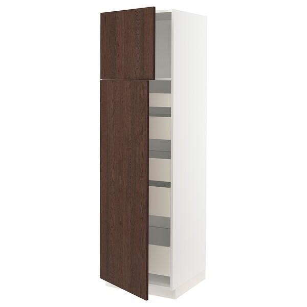 "SEKTION / MAXIMERA High cb w 2 doors/shelves/5 drawers, white/Sinarp brown, 24x24x80 """