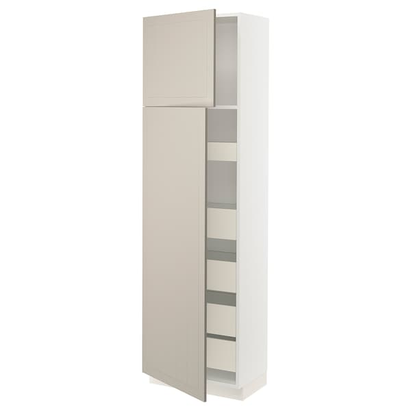 "SEKTION / MAXIMERA High cb w 2 doors/shelves/5 drawers, white/Stensund beige, 24x15x80 """